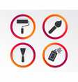 paint roller brush icon spray can and spatula vector image vector image