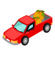 Red van pick-up truck with pumpkins isolated