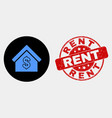 rent house icon and scratched rent stamp vector image vector image