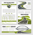 road construction repair service templates vector image vector image