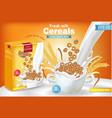 rye cereals in milk splash realistic mock vector image vector image