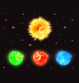 set of planets in outer space with stars elements vector image