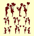 silhouettes of people in love set vector image