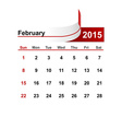 simple calendar 2015 year february month vector image vector image