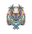skull summer beach t-shirt graphic design vector image vector image
