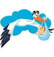 stork with bainvitation card cartoon vector image vector image
