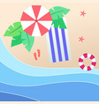 summer beach umbrella blue beach mat red swimming vector image vector image