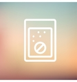 Tablet into a glass of water thin line icon vector image