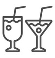two cocktail glasses line icon different vector image vector image