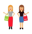 two happy women with shopping bags vector image vector image