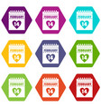 valentines day calendar icon set color hexahedron vector image