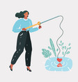 woman girl with a fishing rod looking for love vector image vector image