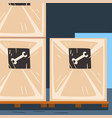 wooden boxes with metal products on pallet vector image
