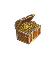 wooden treasure chest with gold coins cartoon vector image