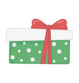 wrapped gift box red ribbon decoration merry vector image vector image