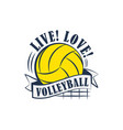 yellow volleyball emblem vector image