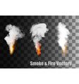 Flames with smoke icons vector image
