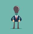 lamp head businessman have not got an idea vector image