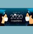 2020 graduates men women in medical mask vector image vector image