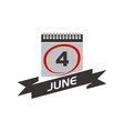 4 june calendar with ribbon vector image vector image