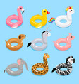 animals pool float rings vector image vector image