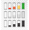 battery indicator icon set isolated isolated on a vector image