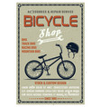bicycle shop poster in retro style vector image vector image