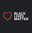 black lives matter red heart and text with long vector image