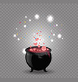 black witch cauldron with red sparkling potion vector image vector image