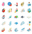 book art icons set isometric style vector image vector image