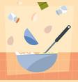 bowl spoon eggs salt preparation cooking vector image vector image