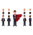 businessman in suit and red cloak with spare heads vector image