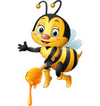 cartoon bee holding honey dippe vector image vector image