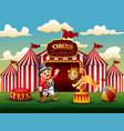 cartoon lion jumping through ring on the arena vector image vector image