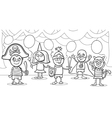 children at fancy ball coloring page vector image vector image