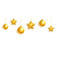 christmas golden balls and stars on white vector image vector image