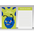 cute notebook template with angry monster vector image