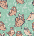 Cute owls florals and mushrooms vector image vector image