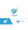 diamond and rocket logo combination vector image vector image