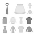 different kinds of clothes monochrome icons in set vector image vector image