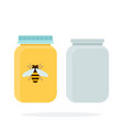 empty cans and jars honey flat material design vector image vector image