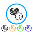 euro coins and time rounded icon vector image vector image