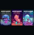 fantastic background fantasy cartoon alien world vector image vector image