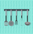 flat utensil kitchenware on the wall vector image vector image