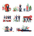funeral ceremony people sad grieving for deceased vector image vector image