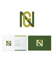g and n monogram emblem flat linear letters vector image vector image