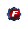 gear logo letter f vector image vector image