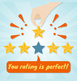 hand giving fifth star rating vector image vector image