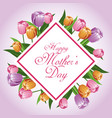 happy mothers day card tulips leaves decoration vector image
