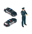 Isometric officer and police car with siren light vector image vector image